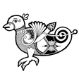 Black and white authentic celtic bird vector
