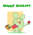 Easter greeting above a green rabbit vector