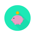 Money pig with dollar coin flat icon with long vector