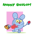 Happy easter greeting above a blue rabbit vector