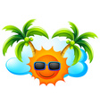 A sunny weather with coconut trees vector