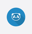 Panda flat blue simple icon with long shadow vector