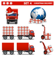 Christmas delivery set 4 vector