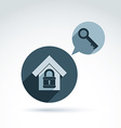 Monochrome house with a padlock isolated on white vector