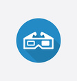 3d movie flat blue simple icon with long shadow vector
