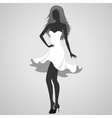 Silhouette of a turning dancer girl vector