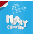 Merry christmas paper cut title on blue cardboard vector