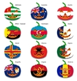 Set pumpkins for halloween as a flags of the world vector
