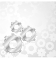 Silver gears on a background of gears vector