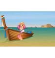 A mermaid at the boat vector