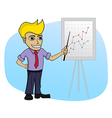 Business man with a chart - cartoon vector