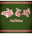 Christmas holly and bell vintage background vector