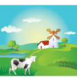 Rural landscape with cow vector