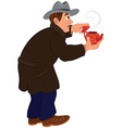 Cartoon man in brown coat and gray hat holding red vector