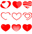 Set of nine heart icons vector