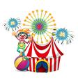 A clown near the circus tent vector