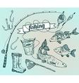 The drawn set fishing rod salmon perch bucket fish vector