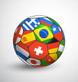 Football ball with different flags vector