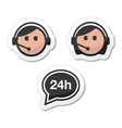 Customer service icons set labels - call center vector