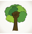 Creative green tree with hand vector