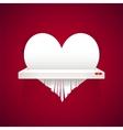 Paper heart is cut into shredder vector