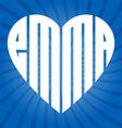 Popular female name emma in heart vector