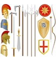Weapon and armor of ancient soldiers vector