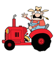 Happy farmer in red tractor waving a greeting vector