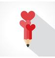 Pencil with hearts vector