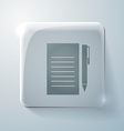 Sheet of paper glass square icon with highlights vector