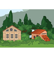 Cartoon village houses with trees vector