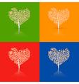 Abstract heart-shaped tree set vector