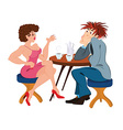Cartoon couple sitting near the table and drinking vector