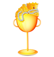 A golden cup with gold treasures vector