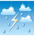 Cloud rain drops and lightning vector