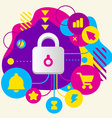 Lock on abstract colorful spotted background with vector