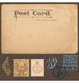 Antique postcards in with set of postal stamps vector