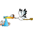 Stork delivering a newborn baby boy vector