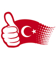 Flag of turkey - hand showing thumbs up vector