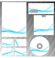 Bright blue swoosh abstract stationery set vector