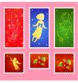 Christmas stamps set vector
