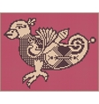 Pixel bird design in folk style for cross stitch vector