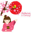 Girl in kimono with cherry blossoms and bird vector