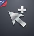 Cursor arrow plus add icon symbol 3d style trendy vector