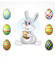 Cartoon bunny with eggs set vector