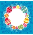 Easter frame with eggs and flowers vector