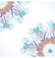 Blue floral ornament mandala background card vector