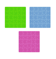 Three color puzzle fields with rounded pieces in vector