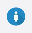 Female profile flat blue simple icon with long vector