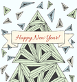 Christmas card made by hand drawn triangles vector